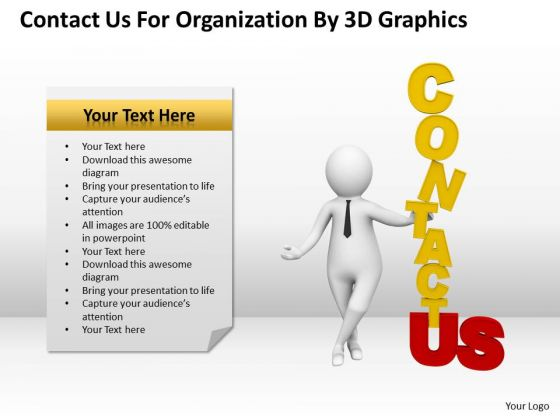 Business People Clip Art Contact For Organization By 3d Graphics PowerPoint Slides