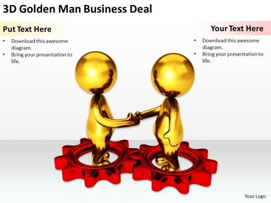 Business People Clip Art Men Golden Man PowerPoint Presentation Deal Slides