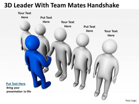 Business People Clipart 3d Leader With Team Mates Handshake PowerPoint Slides
