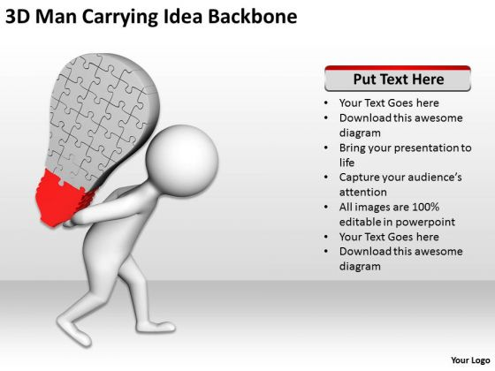 Business People Clipart 3d Man Carrying Idea Backbone PowerPoint Templates
