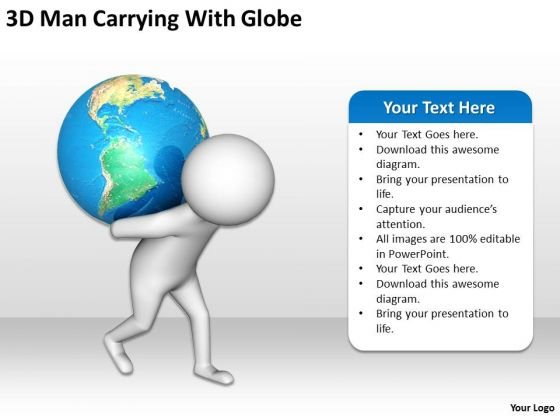 Business People Clipart 3d Man Carrying With Globe PowerPoint Templates