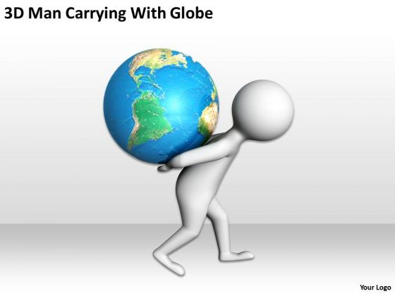 business people clipart 3d man carrying with globe powerpoint, Powerpoint templates