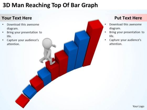 Business People Clipart 3d Man Reaching Top Of Bar Graph PowerPoint Templates