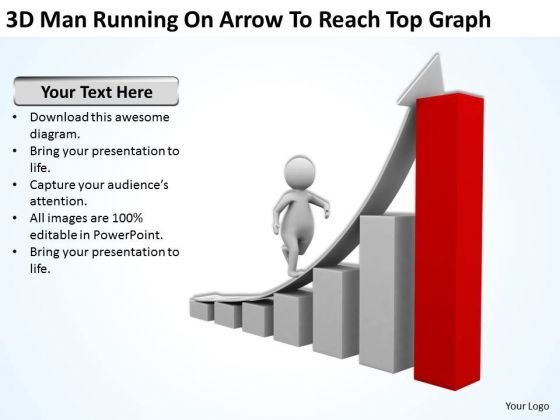 Business People Clipart 3d Man Running On Arrow To Reach Top Graph PowerPoint Templates