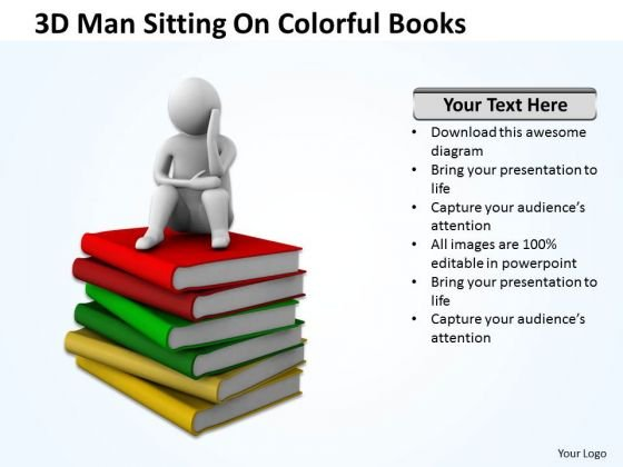 Business People Clipart 3d Man Sitting On Colorful Books PowerPoint Templates