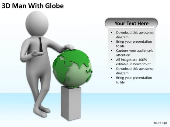 Business People Clipart 3d Man With Globe PowerPoint Templates Ppt Backgrounds For Slides