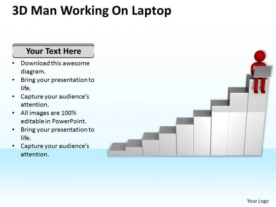 Business People Clipart 3d Man Working On Laptop PowerPoint Templates