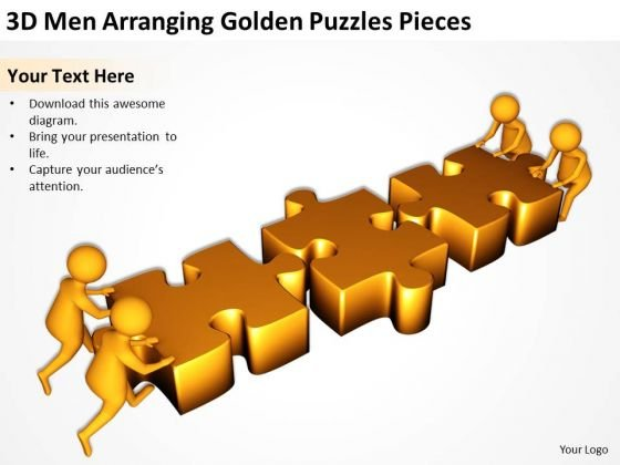 Business People Clipart 3d Men Arranging Golden Puzzles Pieces PowerPoint Templates