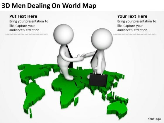 Business People Clipart 3d Men Dealing On World Map PowerPoint Templates