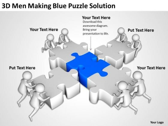 Business People Clipart 3d Men Making Blue Puzzle Solution PowerPoint Templates