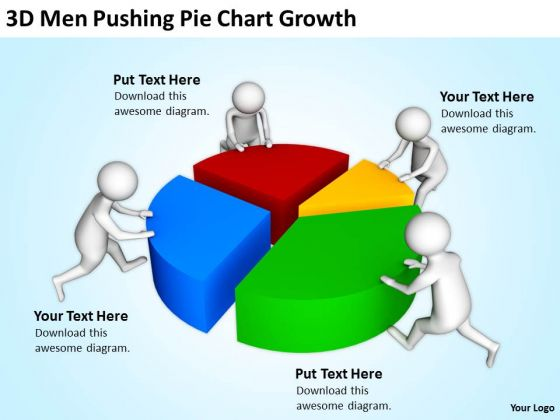 Business People Clipart 3d Men Pushing Pie Chart Growth PowerPoint Templates