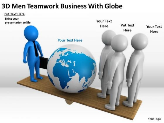 Business People Clipart 3d Men Teamwork With Globe PowerPoint Templates