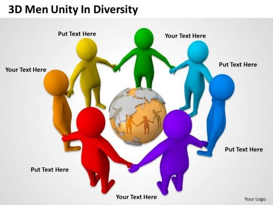 Business People Clipart 3d Men Unity Diversity PowerPoint Slides