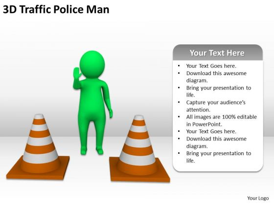 Business People Clipart 3d Traffic Police Man PowerPoint Slides