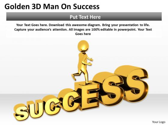 Business People Clipart Golden 3d Man On Success PowerPoint Slides
