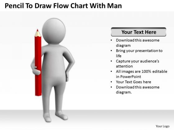 Business People Clipart Pencil To Draw Flow Chart With Man PowerPoint Templates