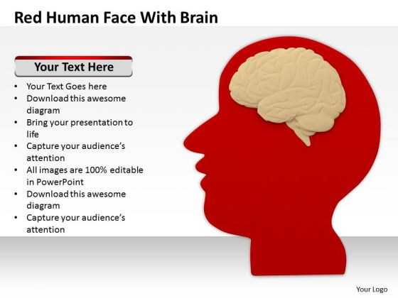 Business People Clipart Red Human Face With Brain PowerPoint Templates Ppt Backgrounds For Slides