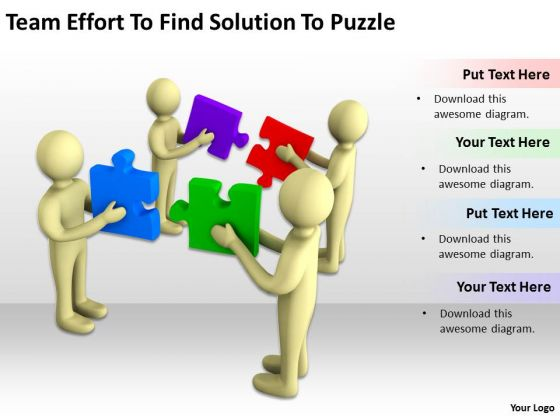 Business People Effort To Find Solution Puzzle PowerPoint Templates Ppt Backgrounds Slides