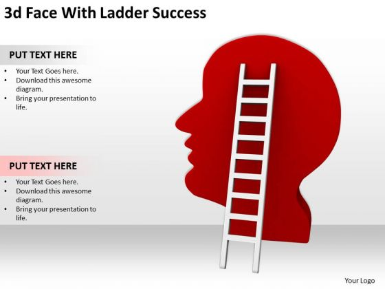 Business People Images 3d Face With Ladder Success PowerPoint Slides