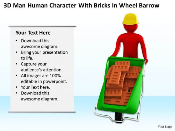 Business People Images 3d Mab Human Character With Bricks Whee Barrow PowerPoint Slides