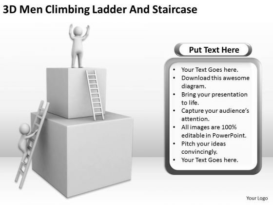 Business People Images 3d Man Climbing Ladder And Staircase PowerPoint Templates