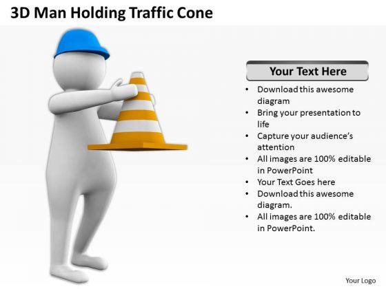 Business People Images 3d Man Holding Traffic Cone PowerPoint Slides