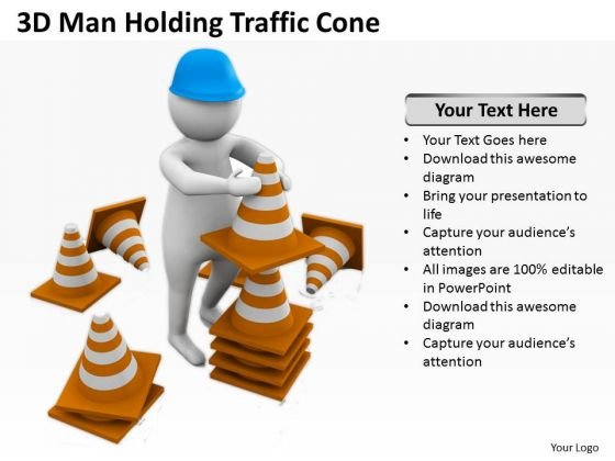 Business People Images 3d Man Holding Traffic Cones PowerPoint Slides