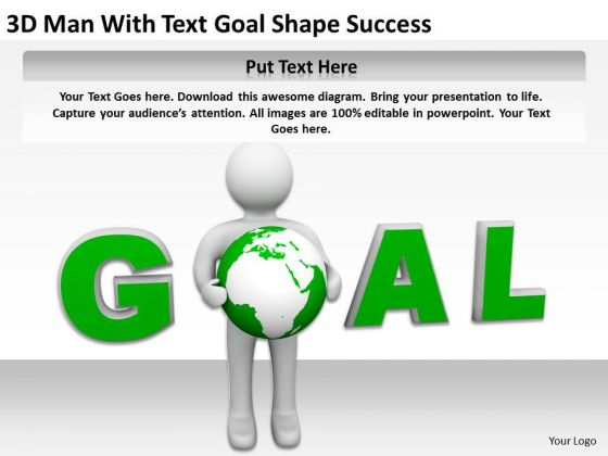 Business People Images 3d Man Human Character With Text Goal Shape Success PowerPoint Slides