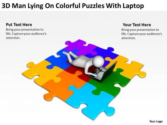 Business People Images 3d Man Lying On Colorful Puzzles With Laptop PowerPoint Slides