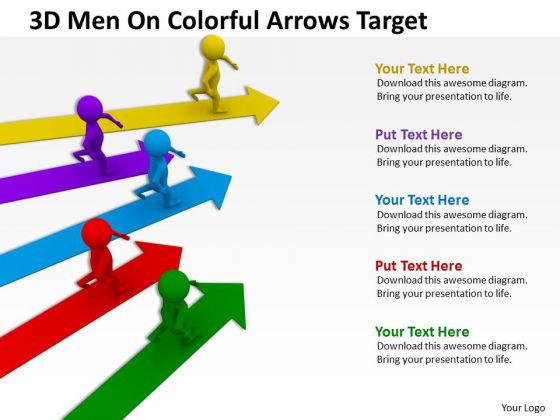 Business People Images 3d Men On Colorful Arrows Target PowerPoint Slides