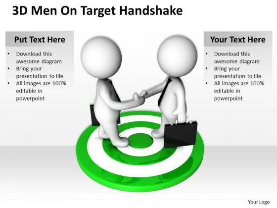 Business People Images 3d Men On Target Handshake PowerPoint Slides
