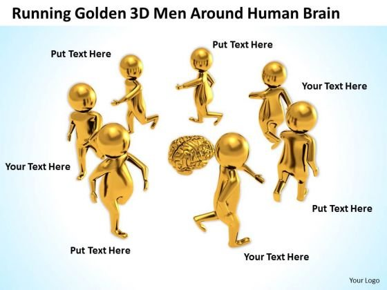 Business People Images Illustration Of Running Golden 3d Man Around Human Brain PowerPoint Slides