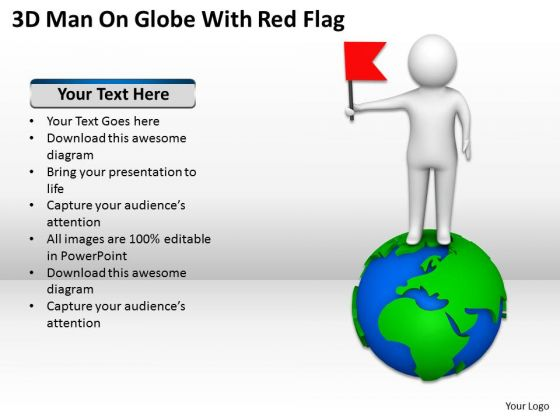 Business People Images Man On Globe With Red Flag PowerPoint Templates Ppt Backgrounds For Slides