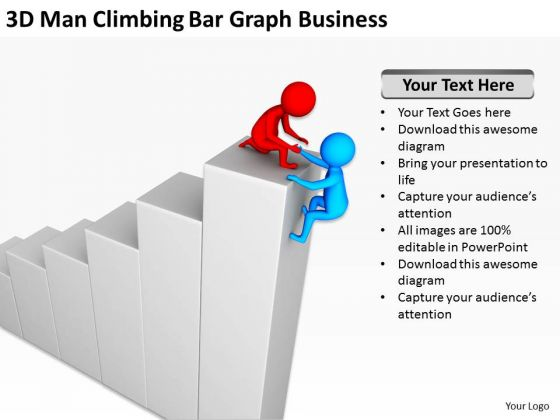 Business People Images Men Climbing Bar Graph Free PowerPoint Templates Slides