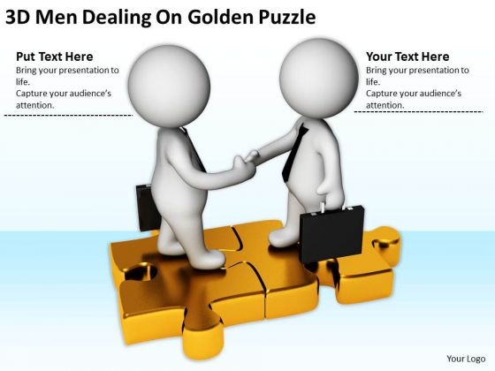 Business People Images Men Dealing On Golden Puzzle PowerPoint Templates Ppt Backgrounds For Slides