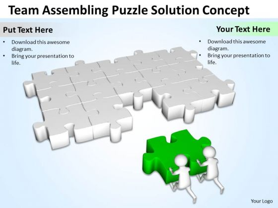 Business People Men Team Assembling Puzzle Solution PowerPoint Templates Ppt Backgrounds For Slides