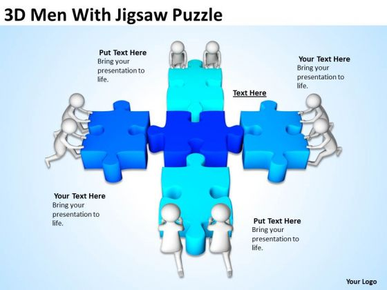 Business People Pictures 3d Men With Jigsaw Puzzle PowerPoint Templates