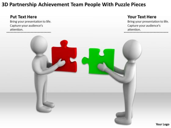 Business People Pictures Achievement Team With Puzzle Pieces PowerPoint Templates