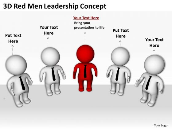 Business People Pictures Red Men Leadership Concept PowerPoint Templates Ppt Backgrounds For Slides