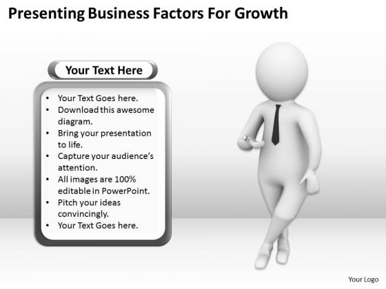 Business People Presenting Factors For Growth PowerPoint Slides