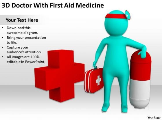 Business People Vector 3d Doctor With First Aid Medicine PowerPoint Slides