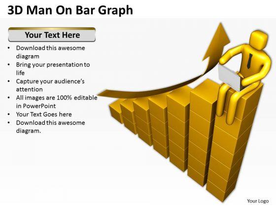 Business People Vector 3d Man On Bar Graph PowerPoint Templates Ppt Backgrounds For Slides