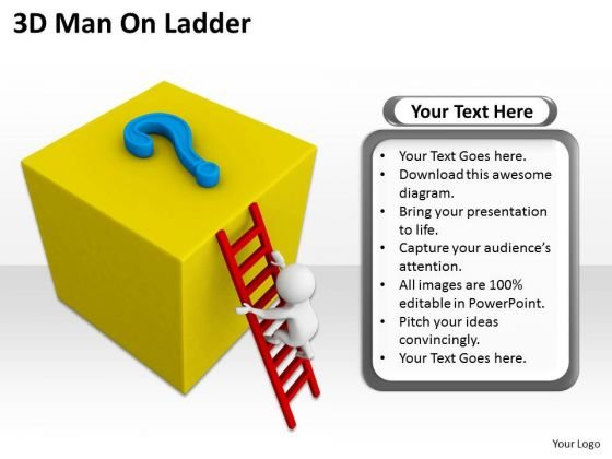 Business People Vector 3d Man On Ladder PowerPoint Templates Ppt Backgrounds For Slides
