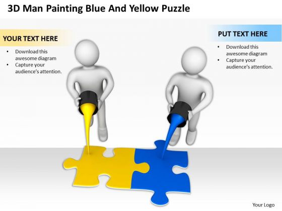 Business People Vector 3d Man Painting Blue And Yellow Puzzle PowerPoint Templates