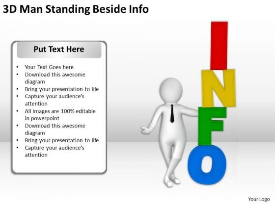 Business People Vector 3d Man Standing Beside Info PowerPoint Slides