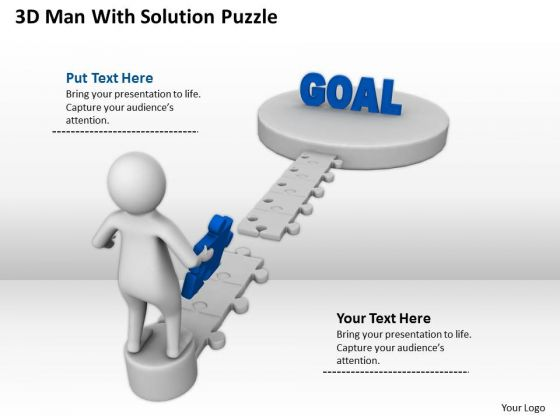 Business People Vector 3d Man With Solution Puzzle PowerPoint Slides