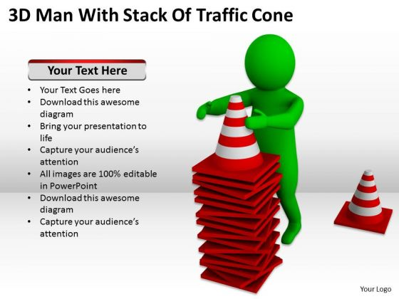 Business People Vector 3d Man With Stack Of Traffic Cones PowerPoint Slides