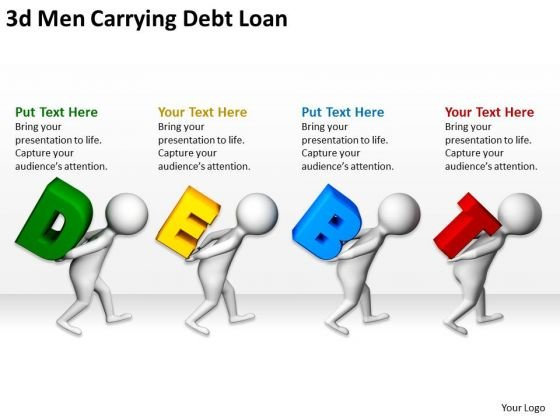 Business People Vector 3d Men Carrying Debt Loan PowerPoint Templates Ppt Backgrounds For Slides