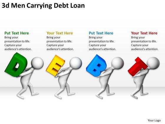Business People Vector 3d Men Carrying Debt Loan Powerpoint