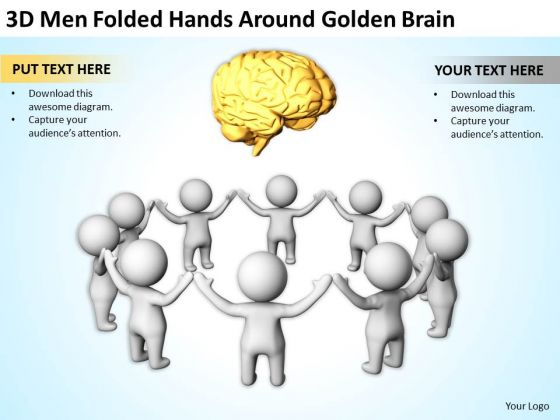 Business People Vector 3d Men Folded Hands Around Golden Brain PowerPoint Templates
